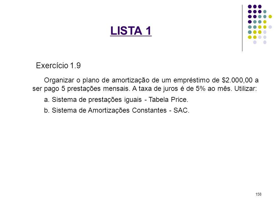 LISTA 1 Exercício 1.9 Organizar o plano de amortização de um empréstimo de $2.000,00 a ser pago 5 prestações mensais. A taxa de juros é de 5% ao mês.