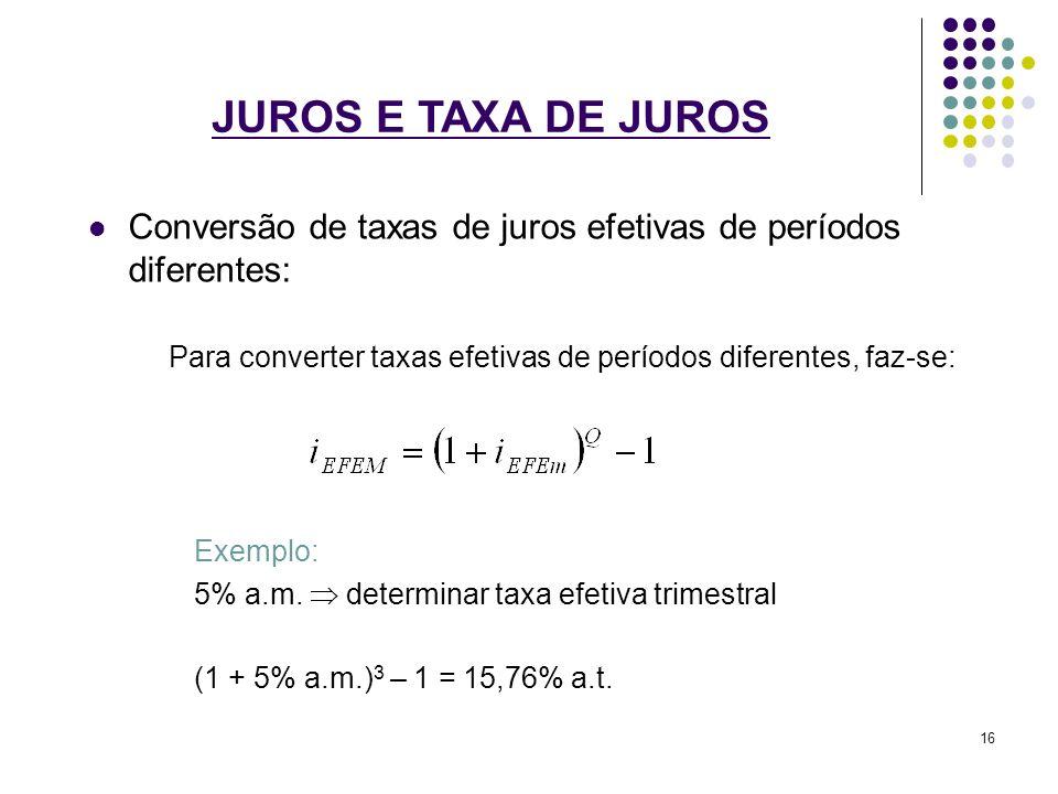JUROS E TAXA DE JUROS Conversão de taxas de juros efetivas de períodos diferentes: Para converter taxas efetivas de períodos diferentes, faz-se: Exemp