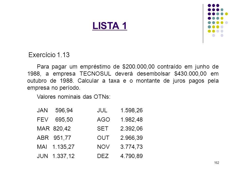 LISTA 1 Exercício 1.13 Para pagar um empréstimo de $200.000,00 contraído em junho de 1988, a empresa TECNOSUL deverá desembolsar $430.000,00 em outubr