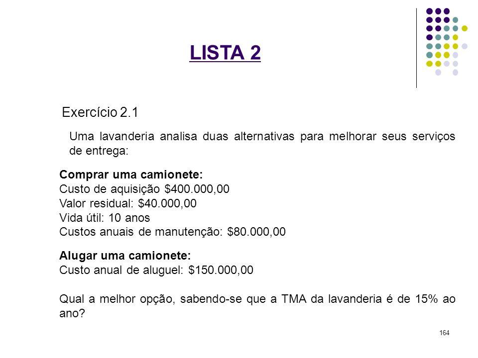 LISTA 2 Exercício 2.1 Uma lavanderia analisa duas alternativas para melhorar seus serviços de entrega: Comprar uma camionete: Custo de aquisição $400.