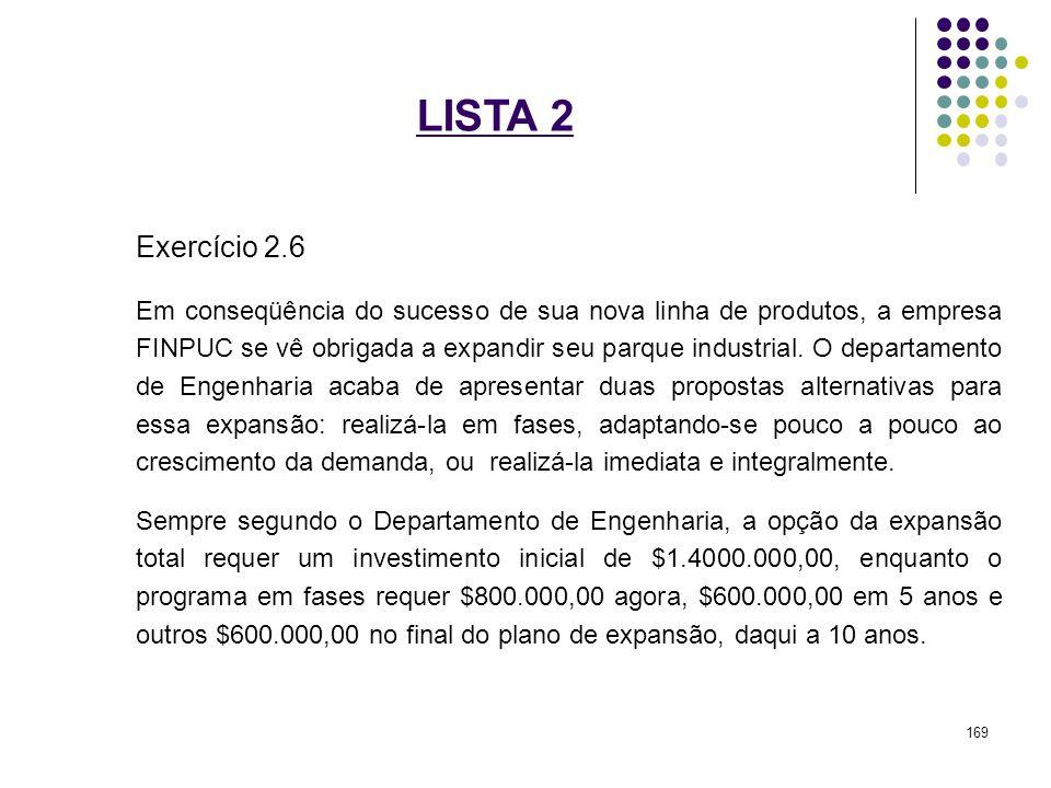 LISTA 2 Exercício 2.6 Em conseqüência do sucesso de sua nova linha de produtos, a empresa FINPUC se vê obrigada a expandir seu parque industrial. O de