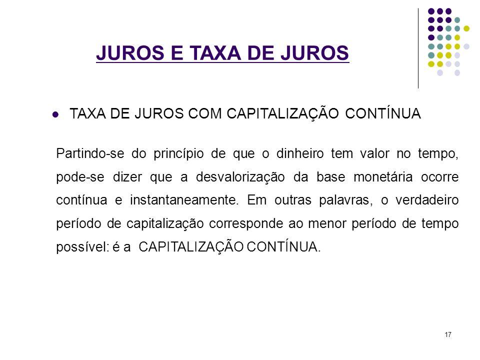 JUROS E TAXA DE JUROS TAXA DE JUROS COM CAPITALIZAÇÃO CONTÍNUA Partindo-se do princípio de que o dinheiro tem valor no tempo, pode-se dizer que a desv