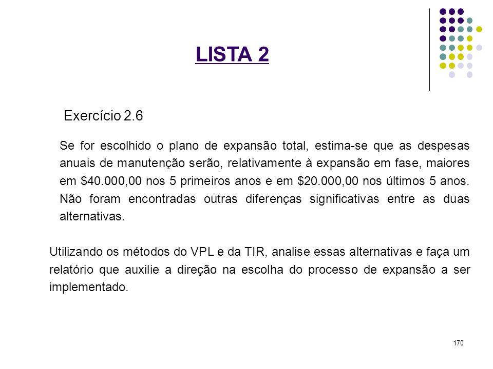 LISTA 2 Exercício 2.6 Se for escolhido o plano de expansão total, estima-se que as despesas anuais de manutenção serão, relativamente à expansão em fa