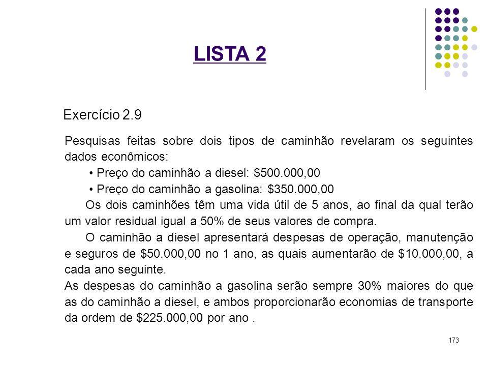 LISTA 2 Exercício 2.9 Pesquisas feitas sobre dois tipos de caminhão revelaram os seguintes dados econômicos: Preço do caminhão a diesel: $500.000,00 P