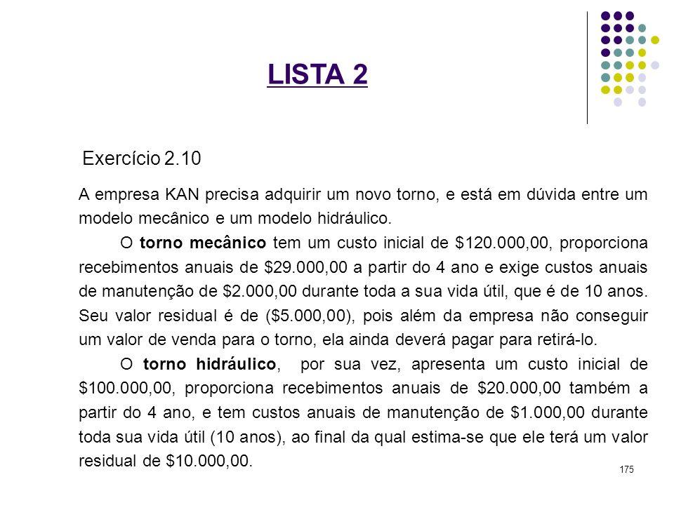 LISTA 2 Exercício 2.10 A empresa KAN precisa adquirir um novo torno, e está em dúvida entre um modelo mecânico e um modelo hidráulico. O torno mecânic