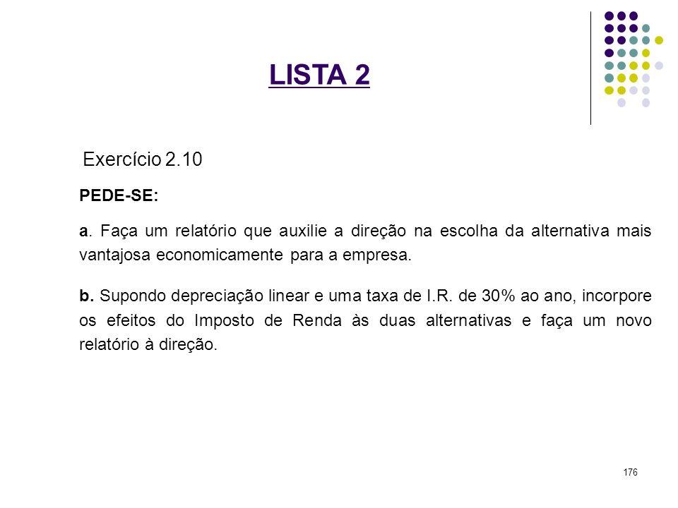 LISTA 2 Exercício 2.10 PEDE-SE: a. Faça um relatório que auxilie a direção na escolha da alternativa mais vantajosa economicamente para a empresa. b.