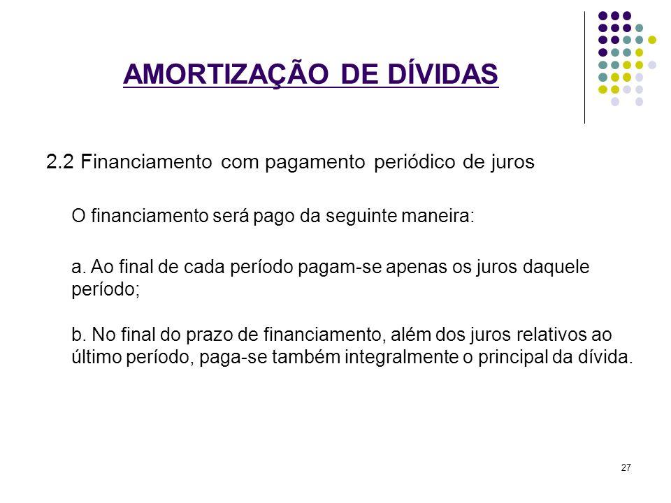 AMORTIZAÇÃO DE DÍVIDAS 2.2 Financiamento com pagamento periódico de juros O financiamento será pago da seguinte maneira: a. Ao final de cada período p