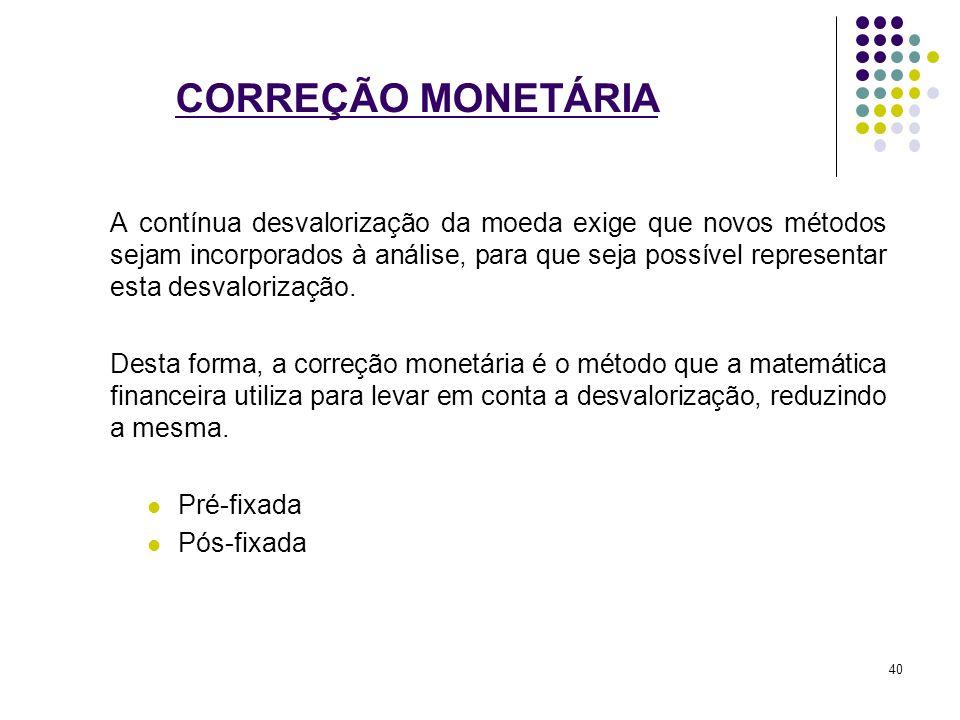 CORREÇÃO MONETÁRIA A contínua desvalorização da moeda exige que novos métodos sejam incorporados à análise, para que seja possível representar esta de