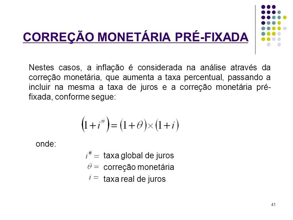 CORREÇÃO MONETÁRIA PRÉ-FIXADA Nestes casos, a inflação é considerada na análise através da correção monetária, que aumenta a taxa percentual, passando