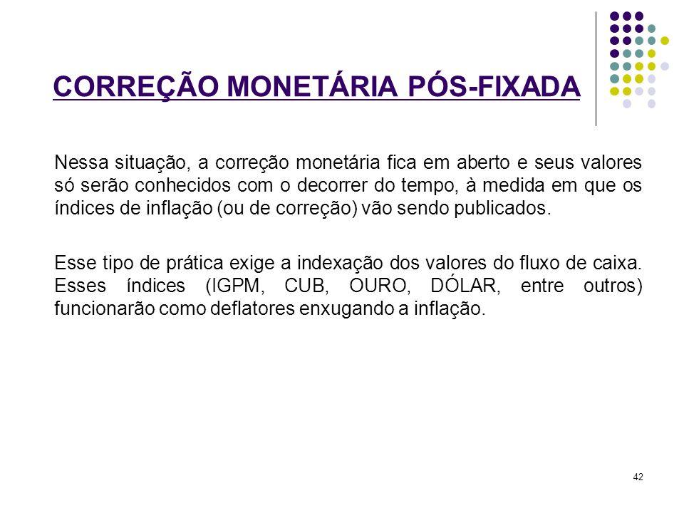 CORREÇÃO MONETÁRIA PÓS-FIXADA Nessa situação, a correção monetária fica em aberto e seus valores só serão conhecidos com o decorrer do tempo, à medida