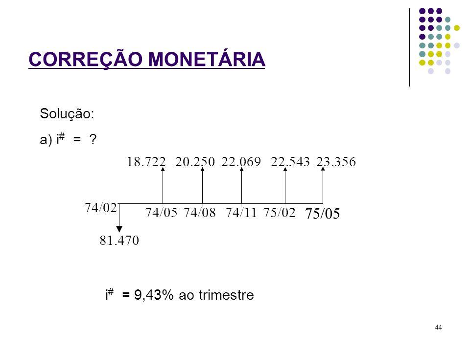 CORREÇÃO MONETÁRIA 74/02 81.470 74/0574/0874/1175/02 75/05 18.72220.25022.06922.54323.356 a) i # = ? Solução: i # = 9,43% ao trimestre 44