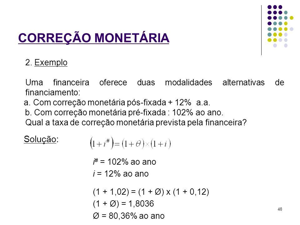 CORREÇÃO MONETÁRIA 2. Exemplo Uma financeira oferece duas modalidades alternativas de financiamento: a. Com correção monetária pós-fixada + 12% a.a. b