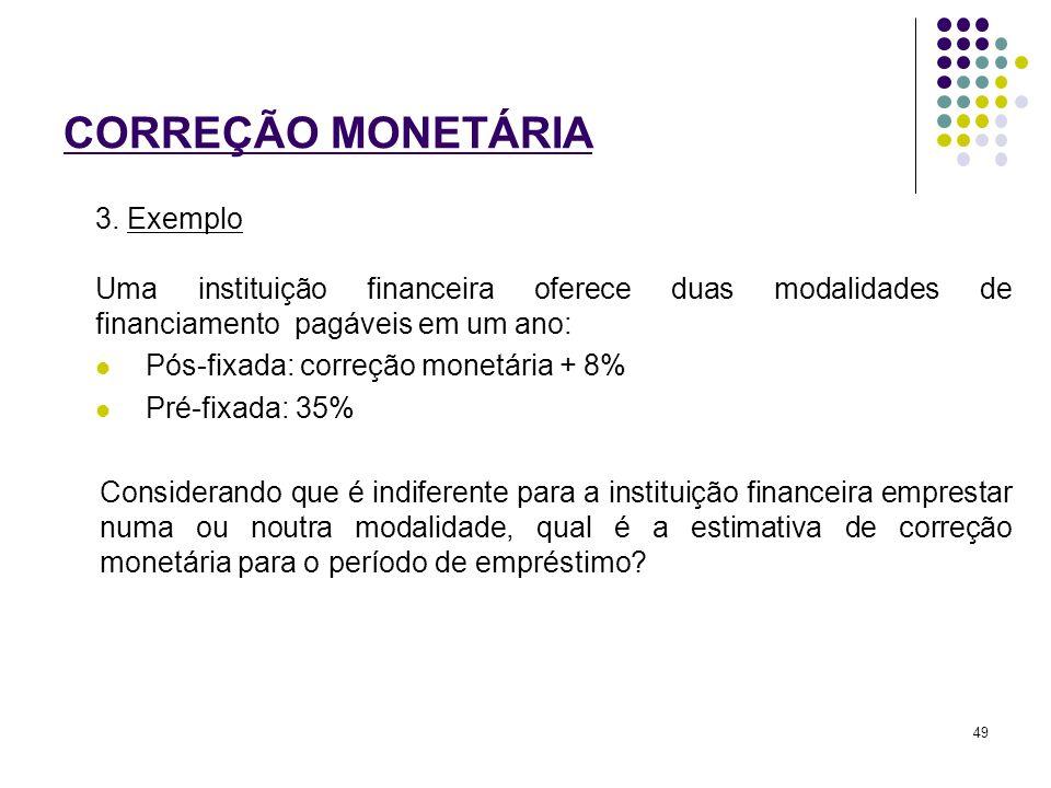 CORREÇÃO MONETÁRIA 3. Exemplo Uma instituição financeira oferece duas modalidades de financiamento pagáveis em um ano: Pós-fixada: correção monetária