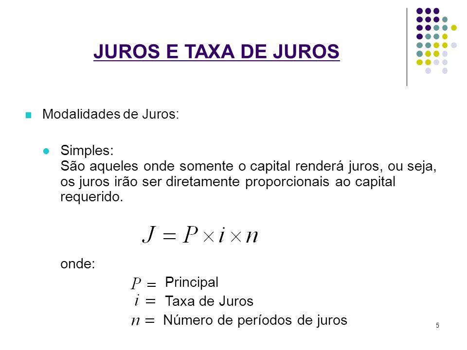 JUROS E TAXA DE JUROS Modalidades de Juros: Simples: São aqueles onde somente o capital renderá juros, ou seja, os juros irão ser diretamente proporci