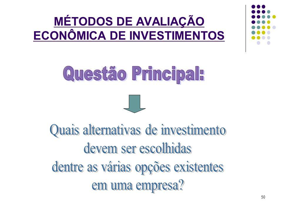 MÉTODOS DE AVALIAÇÃO ECONÔMICA DE INVESTIMENTOS 50