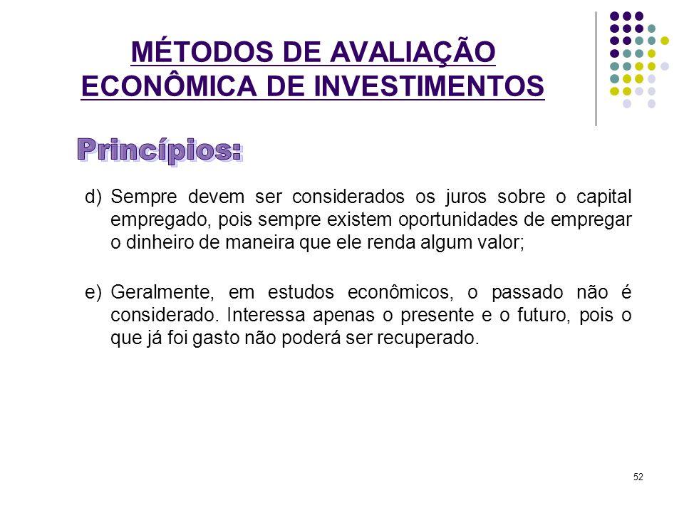 MÉTODOS DE AVALIAÇÃO ECONÔMICA DE INVESTIMENTOS d)Sempre devem ser considerados os juros sobre o capital empregado, pois sempre existem oportunidades