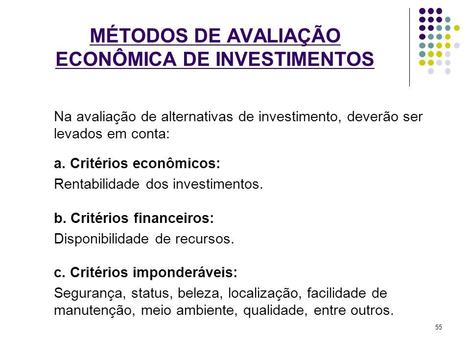 MÉTODOS DE AVALIAÇÃO ECONÔMICA DE INVESTIMENTOS Na avaliação de alternativas de investimento, deverão ser levados em conta: a. Critérios econômicos: R