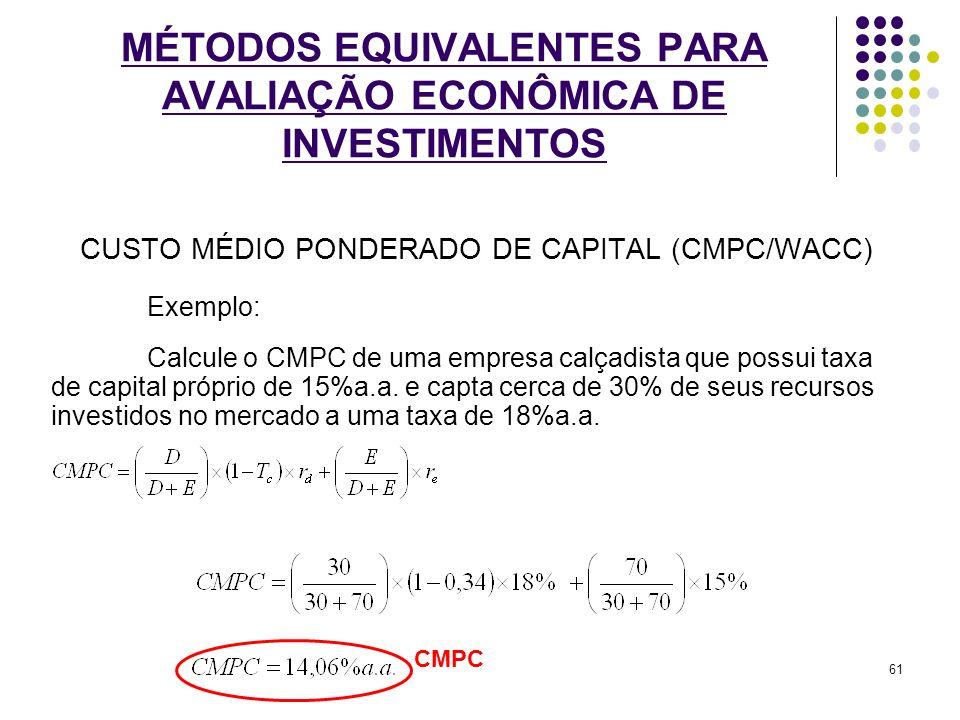 MÉTODOS EQUIVALENTES PARA AVALIAÇÃO ECONÔMICA DE INVESTIMENTOS CUSTO MÉDIO PONDERADO DE CAPITAL (CMPC/WACC) Exemplo: Calcule o CMPC de uma empresa cal