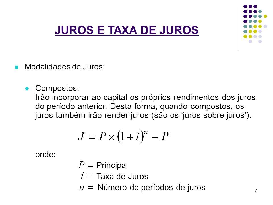 JUROS E TAXA DE JUROS Modalidades de Juros: Compostos: Irão incorporar ao capital os próprios rendimentos dos juros do período anterior. Desta forma,