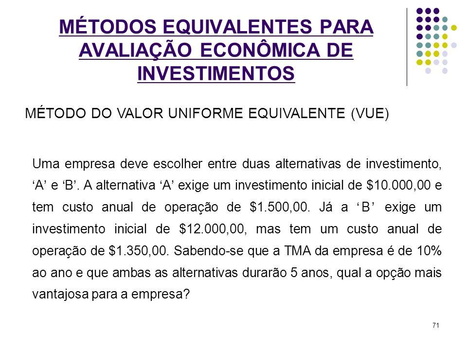 MÉTODOS EQUIVALENTES PARA AVALIAÇÃO ECONÔMICA DE INVESTIMENTOS Uma empresa deve escolher entre duas alternativas de investimento,A e B. A alternativa