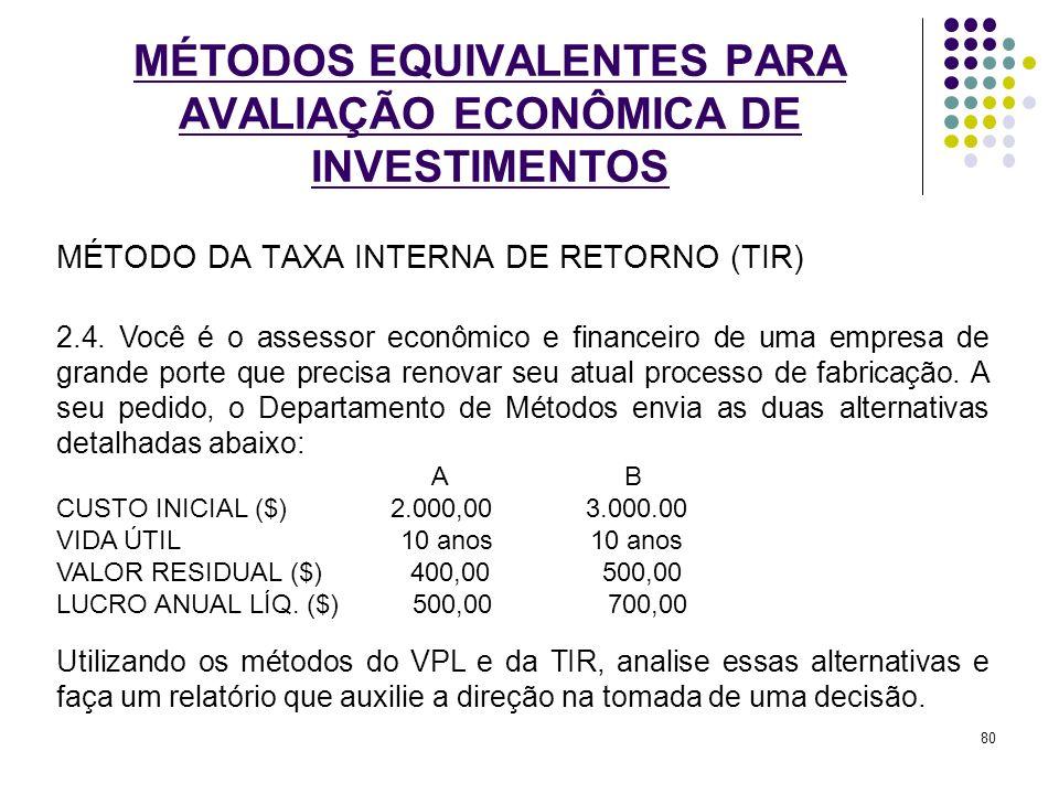 MÉTODO DA TAXA INTERNA DE RETORNO (TIR) MÉTODOS EQUIVALENTES PARA AVALIAÇÃO ECONÔMICA DE INVESTIMENTOS 2.4. Você é o assessor econômico e financeiro d