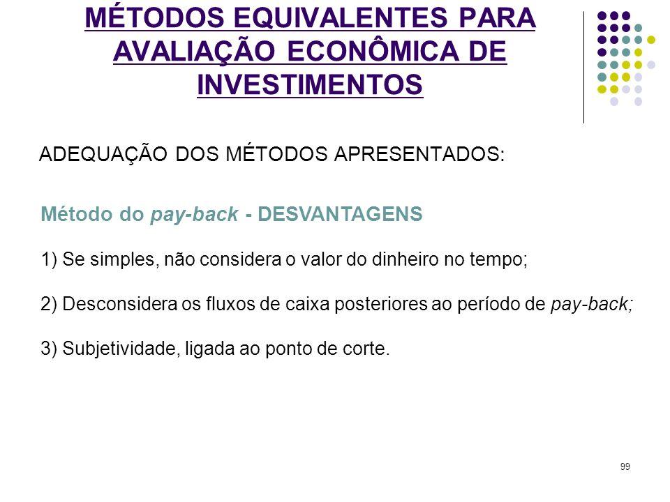 MÉTODOS EQUIVALENTES PARA AVALIAÇÃO ECONÔMICA DE INVESTIMENTOS ADEQUAÇÃO DOS MÉTODOS APRESENTADOS: Método do pay-back - DESVANTAGENS 1) Se simples, nã