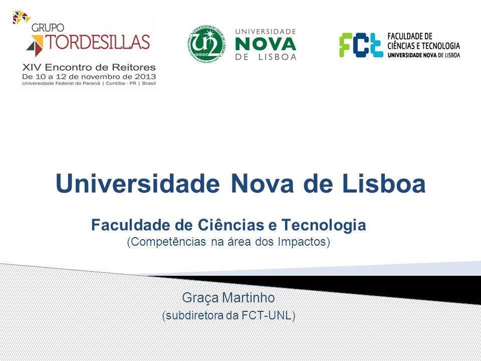 Universidade Nova de Lisboa Faculdade de Ciências e Tecnologia (Competências na área dos Impactos) Graça Martinho (subdiretora da FCT-UNL)