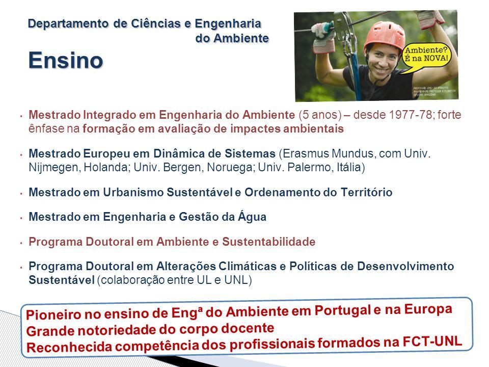 Departamento de Ciências e Engenharia do Ambiente Ensino Mestrado Integrado em Engenharia do Ambiente (5 anos) – desde 1977-78; forte ênfase na formação em avaliação de impactes ambientais Mestrado Europeu em Dinâmica de Sistemas (Erasmus Mundus, com Univ.