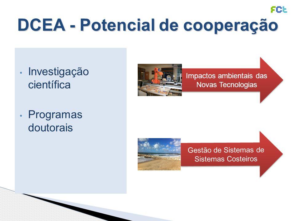 Investigação científica Programas doutorais Gestão de Sistemas de Sistemas Costeiros Impactos ambientais das Novas Tecnologias DCEA - Potencial de cooperação