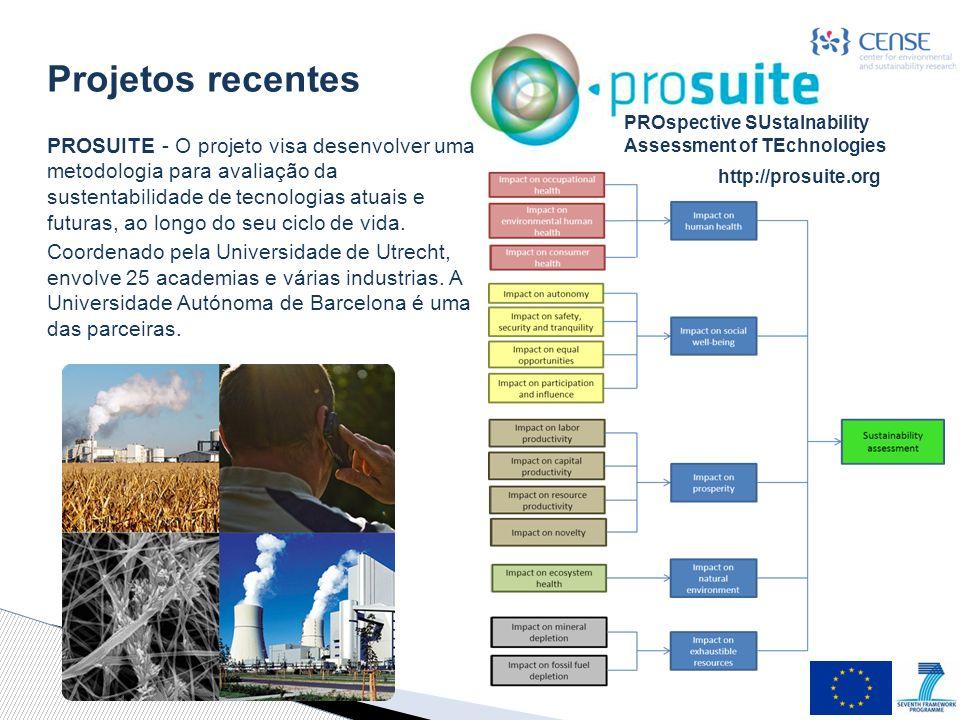 PROspective SUstaInability Assessment of TEchnologies PROSUITE - O projeto visa desenvolver uma metodologia para avaliação da sustentabilidade de tecnologias atuais e futuras, ao longo do seu ciclo de vida.