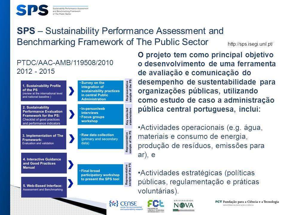 SPS – Sustainability Performance Assessment and Benchmarking Framework of The Public Sector PTDC/AAC-AMB/119508/2010 2012 - 2015 O projeto tem como principal objetivo o desenvolvimento de uma ferramenta de avaliação e comunicação do desempenho de sustentabilidade para organizações públicas, utilizando como estudo de caso a administração pública central portuguesa, inclui: Actividades operacionais (e.g.