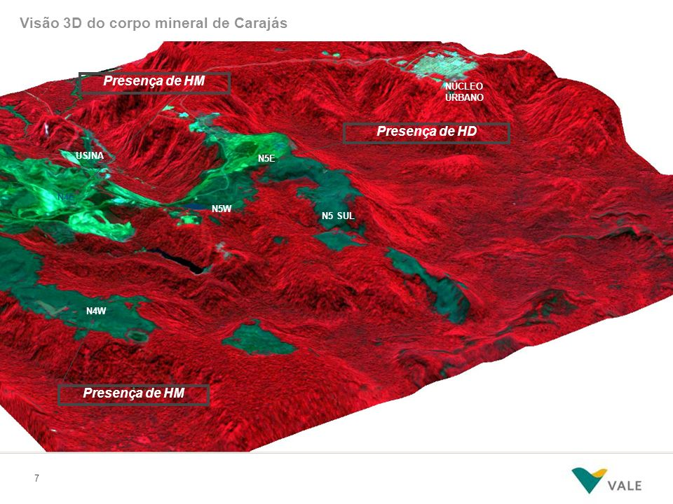 7 N5E N5W N4E NÚCLEO URBANO USINA N5 SUL N4W Presença de HD Presença de HM Visão 3D do corpo mineral de Carajás