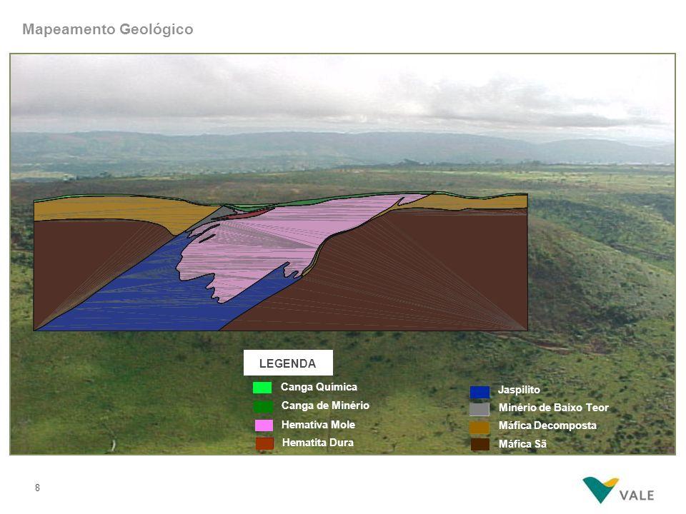 8 LEGENDA Canga Química Hemativa Mole Hematita Dura Canga de Minério Jaspilito Máfica Decomposta Máfica Sã Minério de Baixo Teor Mapeamento Geológico