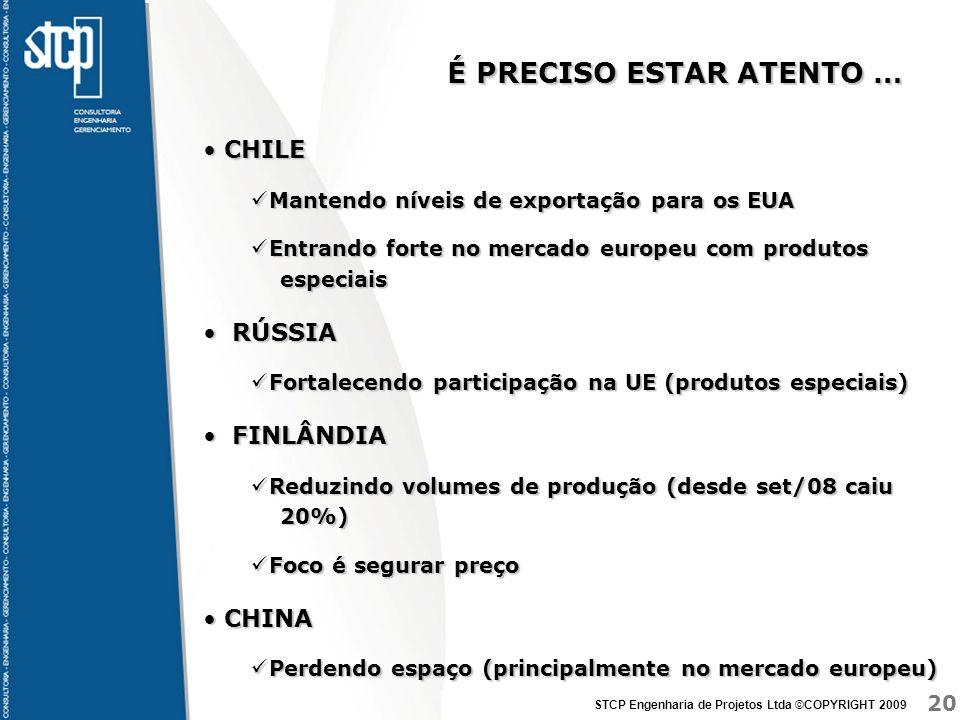 20 STCP Engenharia de Projetos Ltda ©COPYRIGHT 2009 É PRECISO ESTAR ATENTO … CHILE CHILE Mantendo níveis de exportação para os EUA Mantendo níveis de