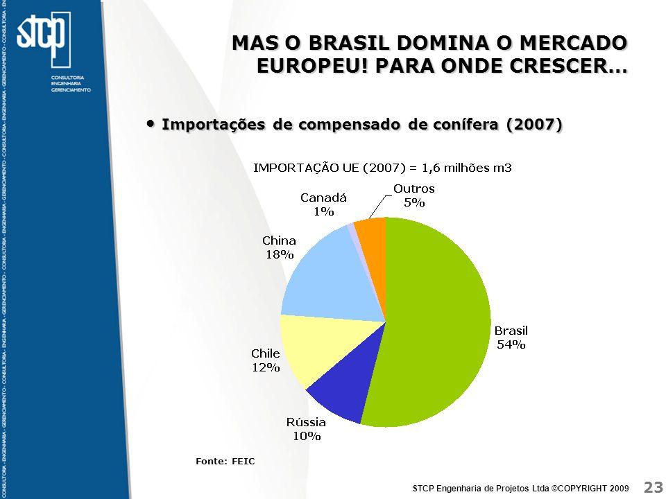 23 STCP Engenharia de Projetos Ltda ©COPYRIGHT 2009 MAS O BRASIL DOMINA O MERCADO EUROPEU! PARA ONDE CRESCER… Importações de compensado de conífera (2