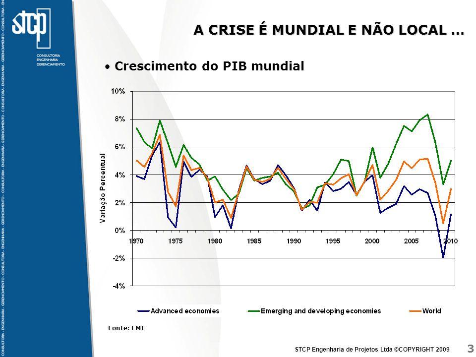 3 STCP Engenharia de Projetos Ltda ©COPYRIGHT 2009 INTERELACIONADAS Crescimento do PIB mundial A CRISE É MUNDIAL E NÃO LOCAL … Fonte: FMI
