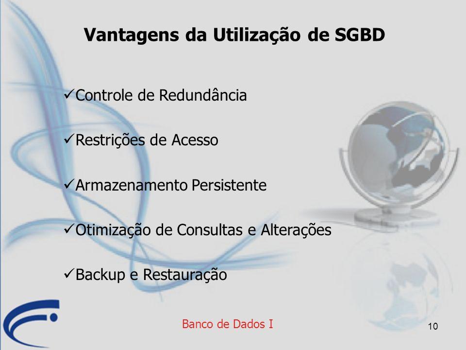 10 Vantagens da Utilização de SGBD Controle de Redundância Restrições de Acesso Armazenamento Persistente Otimização de Consultas e Alterações Backup