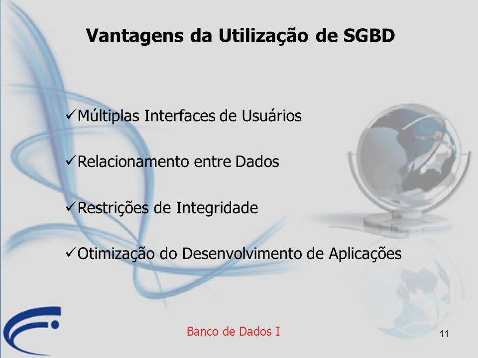 11 Vantagens da Utilização de SGBD Múltiplas Interfaces de Usuários Relacionamento entre Dados Restrições de Integridade Otimização do Desenvolvimento