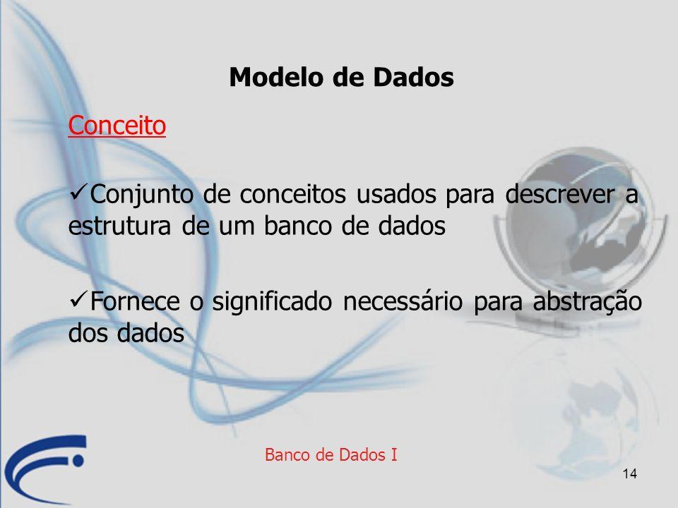 14 Banco de Dados I Modelo de Dados Conjunto de conceitos usados para descrever a estrutura de um banco de dados Fornece o significado necessário para