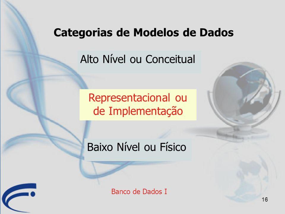 16 Banco de Dados I Categorias de Modelos de Dados Alto Nível ou Conceitual Baixo Nível ou Físico Representacional ou de Implementação