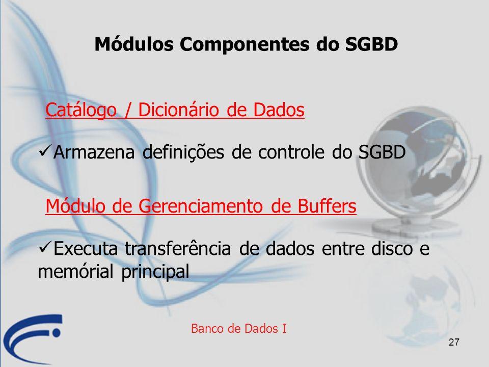 27 Banco de Dados I Módulos Componentes do SGBD Executa transferência de dados entre disco e memórial principal Módulo de Gerenciamento de Buffers Arm