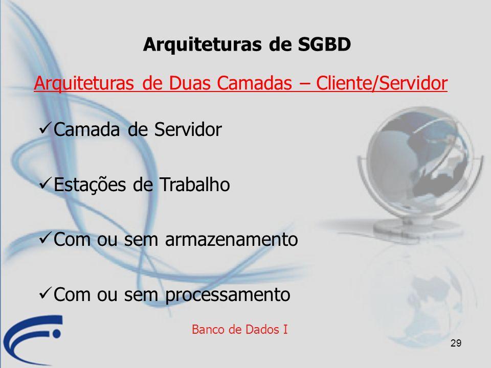 29 Banco de Dados I Arquiteturas de SGBD Camada de Servidor Estações de Trabalho Com ou sem armazenamento Com ou sem processamento Arquiteturas de Dua