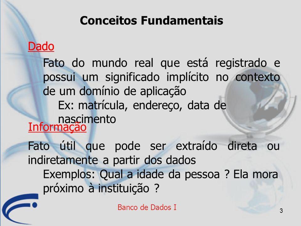 24 Banco de Dados I Independência de Dados Capacidade de mudar o esquema conceitual sem alterar o esquema externo ou os programas Independência de Dados Lógica Capacidade de mudar o esquema interno sem alterar o esquema conceitual (nem o externo por consequência) Independência de Dados Física