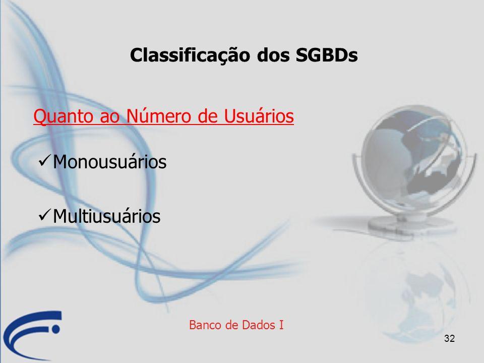 32 Banco de Dados I Classificação dos SGBDs Monousuários Multiusuários Quanto ao Número de Usuários