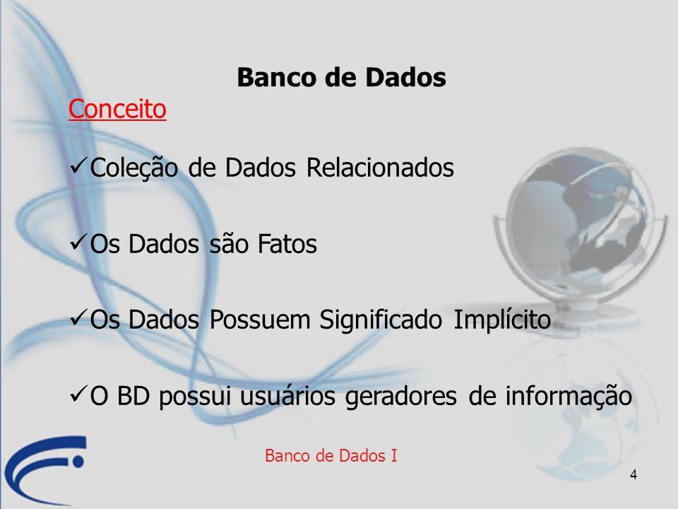4 Banco de Dados I Banco de Dados Coleção de Dados Relacionados Os Dados são Fatos Os Dados Possuem Significado Implícito O BD possui usuários gerador
