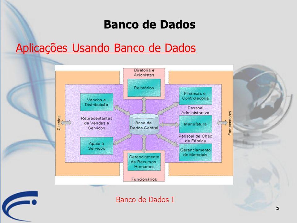 6 Banco de Dados I Sistema Gerenciador de Banco de Dados (SGBD) Manutenção de um Banco de Dados Um Banco de Dados pode ser criado e mantido por aplicativos especialistas ou por um SGBD.