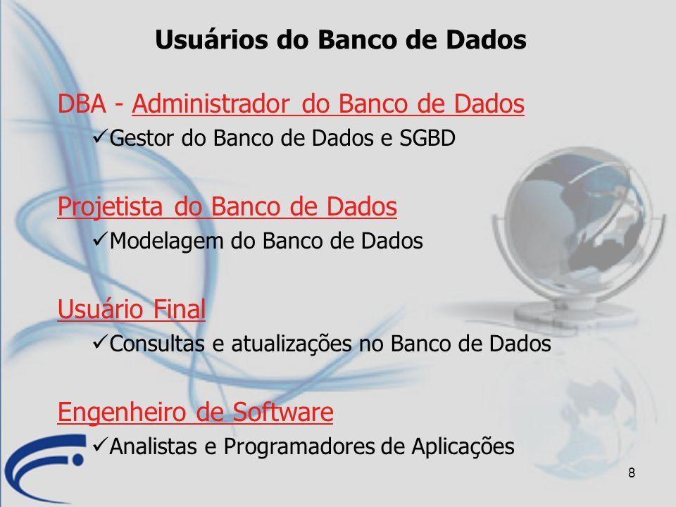 8 Usuários do Banco de Dados DBA - Administrador do Banco de Dados Gestor do Banco de Dados e SGBD Projetista do Banco de Dados Modelagem do Banco de