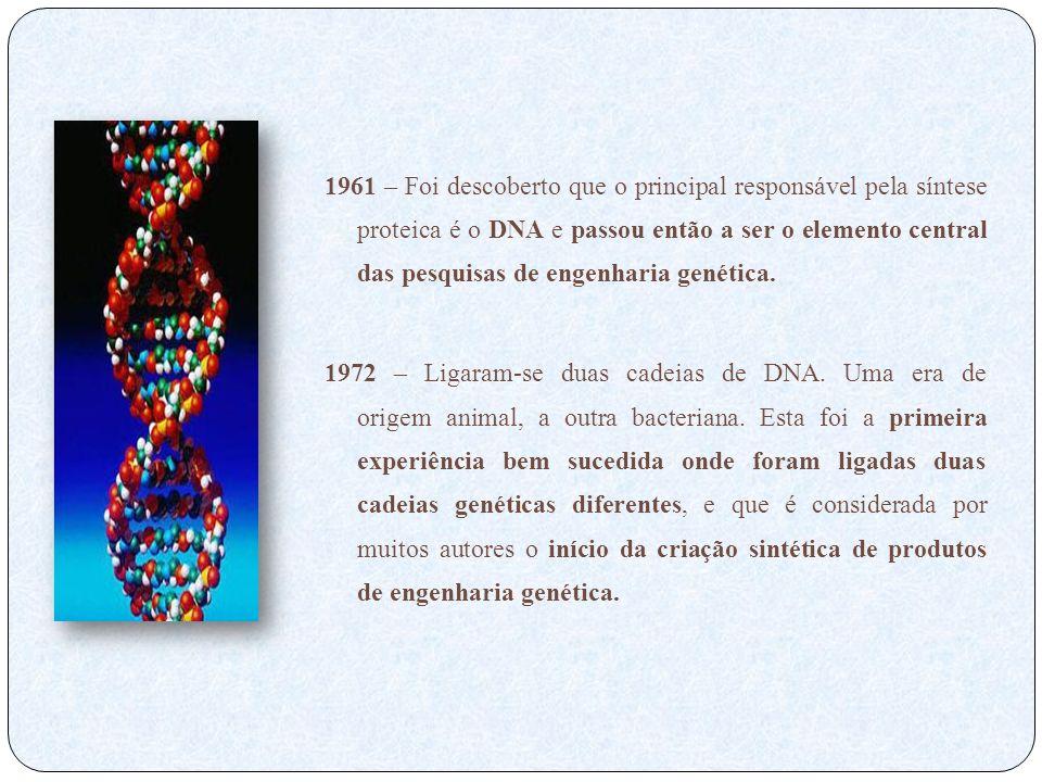 1961 – Foi descoberto que o principal responsável pela síntese proteica é o DNA e passou então a ser o elemento central das pesquisas de engenharia ge