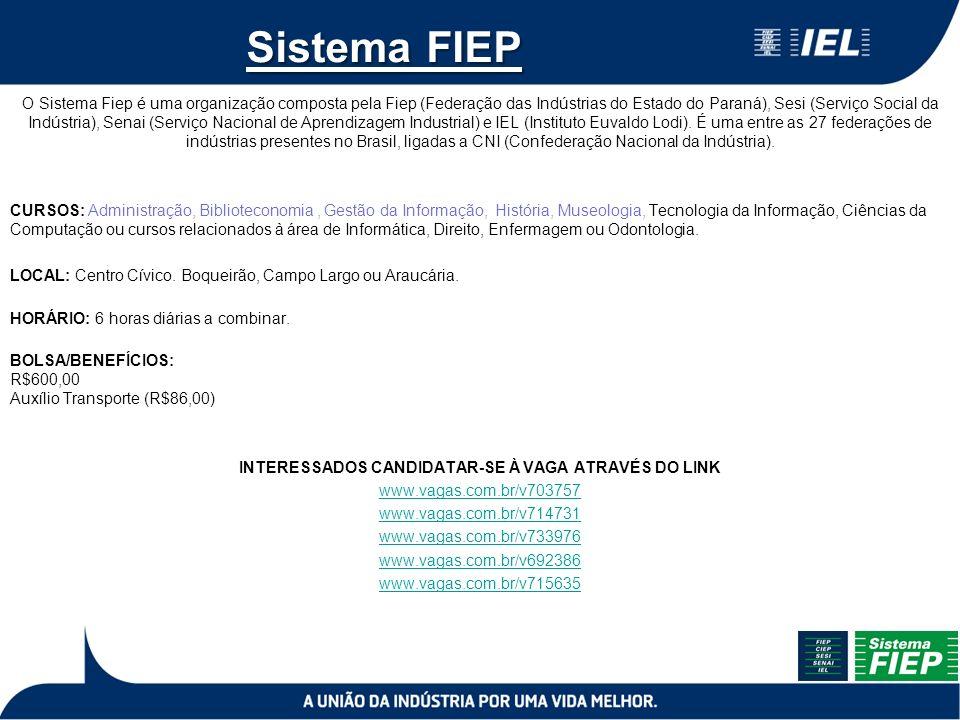 Sistema FIEP O Sistema Fiep é uma organização composta pela Fiep (Federação das Indústrias do Estado do Paraná), Sesi (Serviço Social da Indústria), Senai (Serviço Nacional de Aprendizagem Industrial) e IEL (Instituto Euvaldo Lodi).