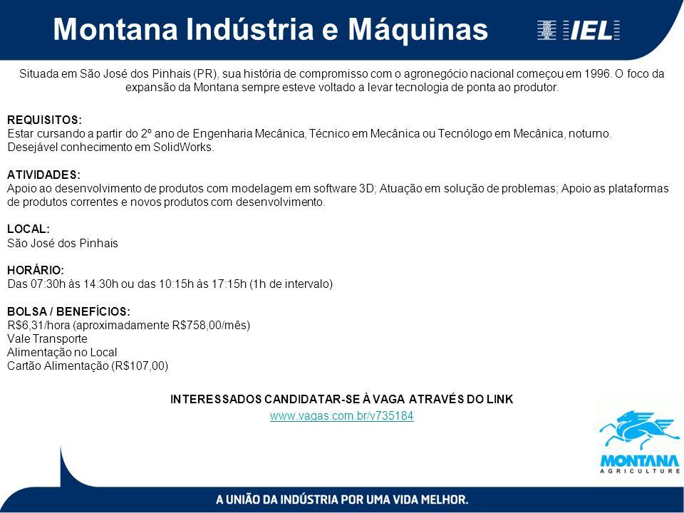 Montana Indústria e Máquinas Situada em São José dos Pinhais (PR), sua história de compromisso com o agronegócio nacional começou em 1996.